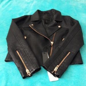 NWT BLANK BYC BLACK FAUX LEATHER MOTO JACKET